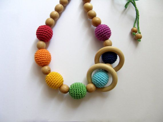 wooden /& crochet beads Breastfeeding necklace