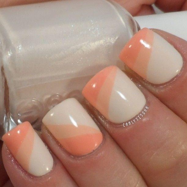 Uñas blanco y melón | uñas | Pinterest | Blanco, Manicuras y Uña ...