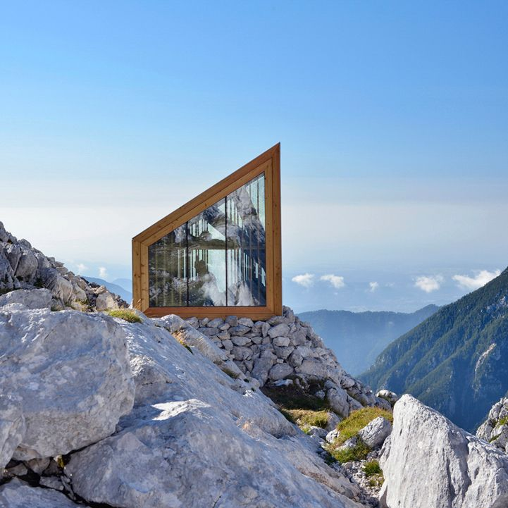 Harvard University School of Design and OFIS Architects have constructed a shelter for climbers that sits along the beautiful rocky landscape of Slovenia's Kamnik Alps.