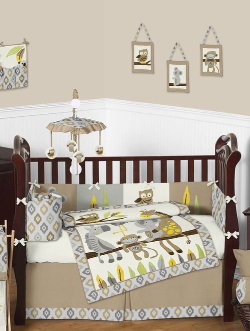 Unisex Outback Safari Baby Bedding 9 Piece Jungle Crib Set By