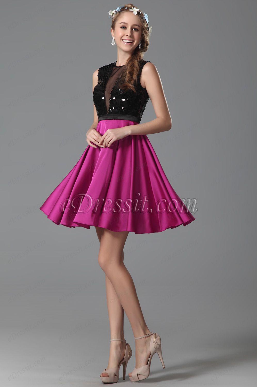 Hot pink sleeveless sequins homecoming dress party dress