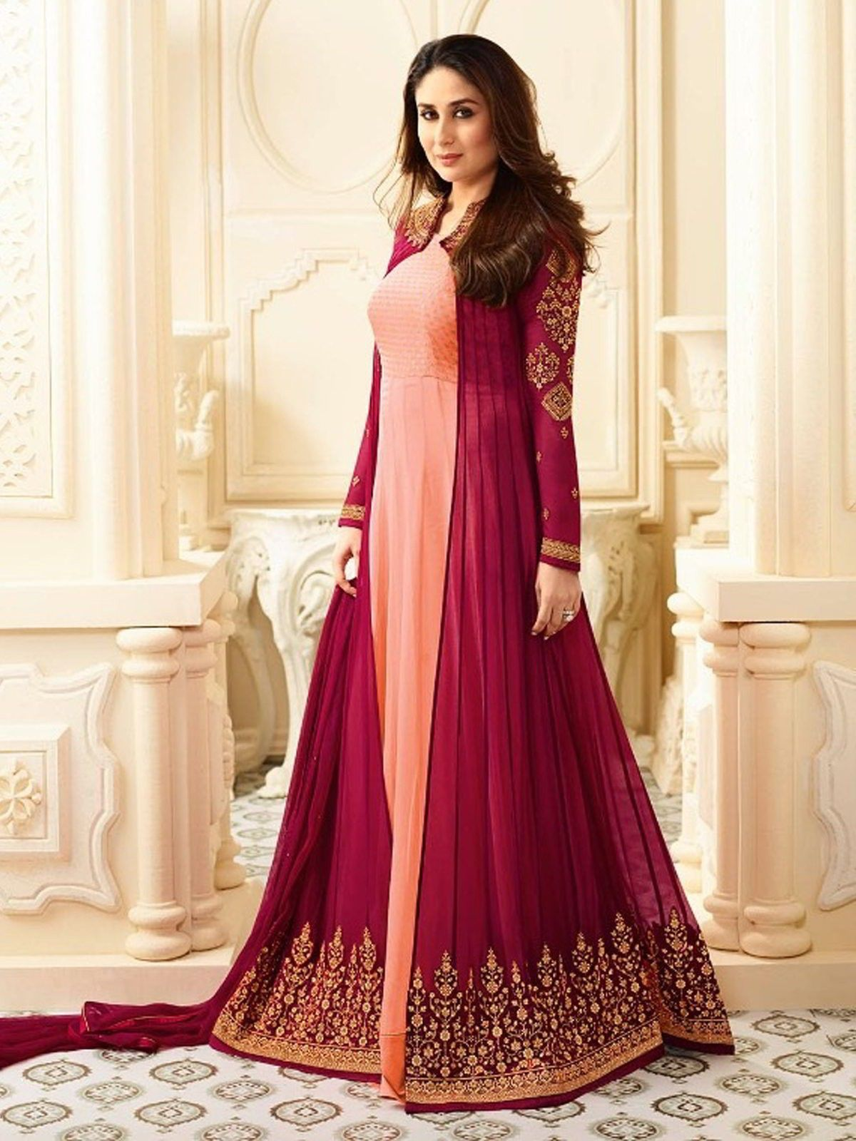 232e613f58 Bollywood Pink and Majenta color Salwar Kameez in Faux Georgette fabric  with Abaya, Anarkali Embroidered, Thread work