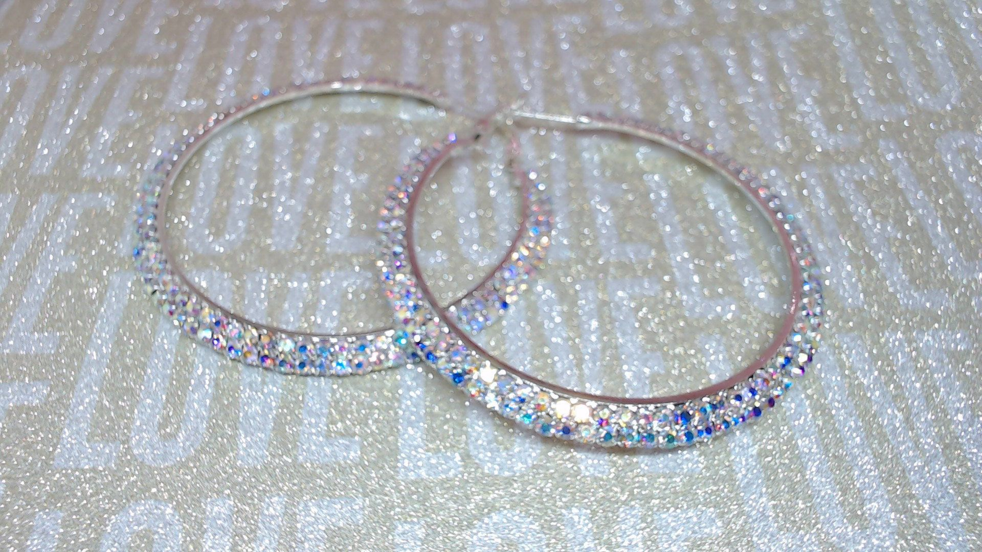 AB CRYSTAL SILVER  hoops by beaqueenbee on Etsy