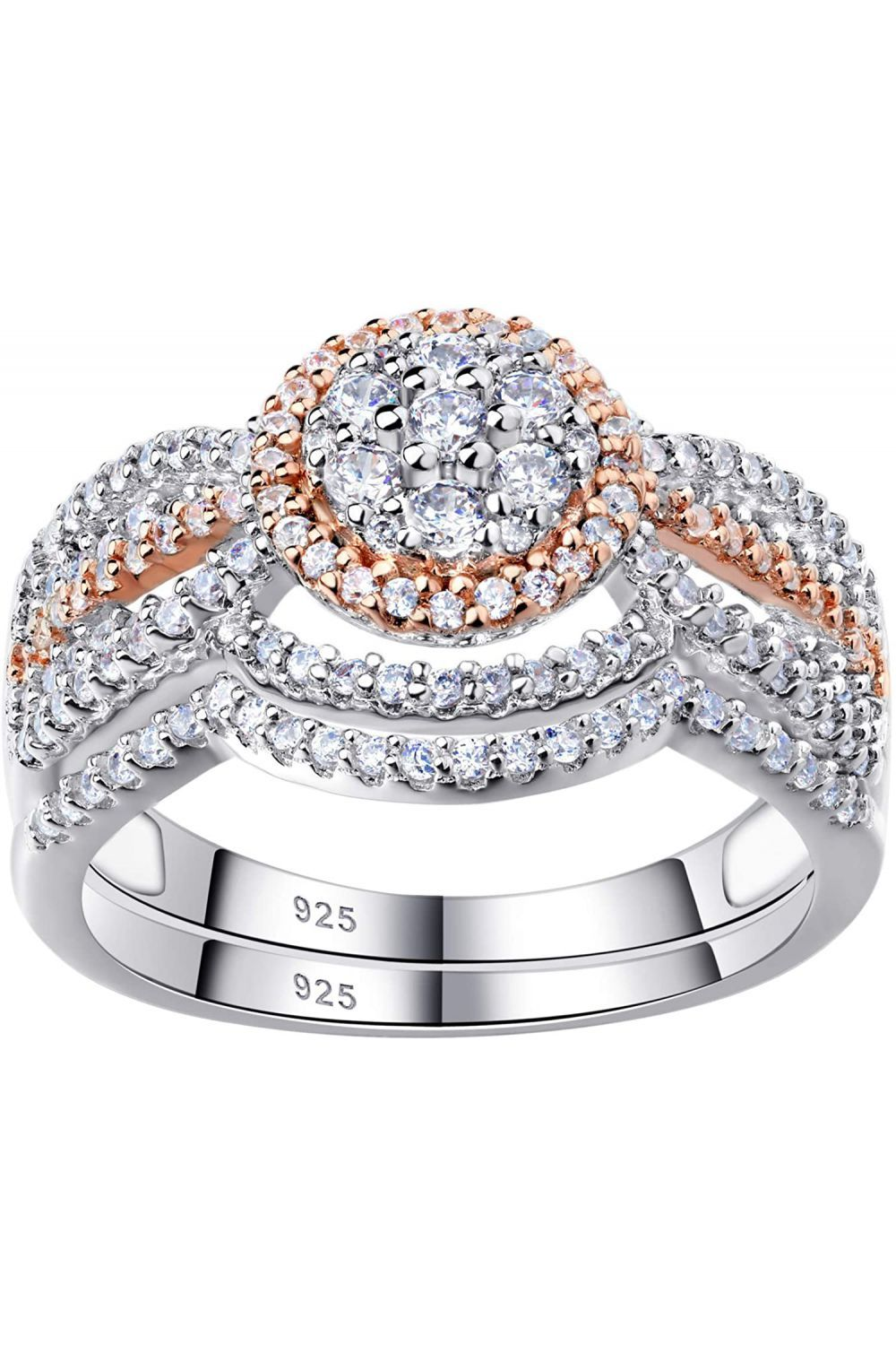 Queen Victoria Vintage Style Sterling Silver Cubic Zirconia Wedding Ring Set Vintage Style Rings Wedding Rings Vintage Cz Wedding Ring Sets