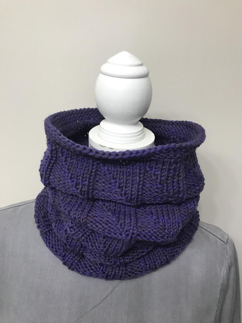 Photo of Unisex knit cowl – Purple hand knit scarf- Women fall neck warmer – Merino wool …