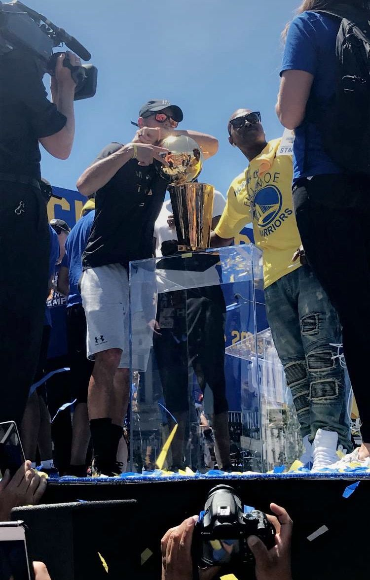Confetti flies and fans cheer Thursday June 14, as #StephenCurry, #KevinDurant, #KlayThompson #DraymondGreen and the Golden State Warriors celebrated a second title in three seasons during their championship parade.