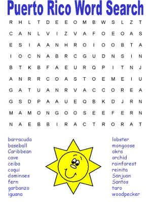Puerto Rico Word Search | Puerto Rico | Pinterest | Word search ...