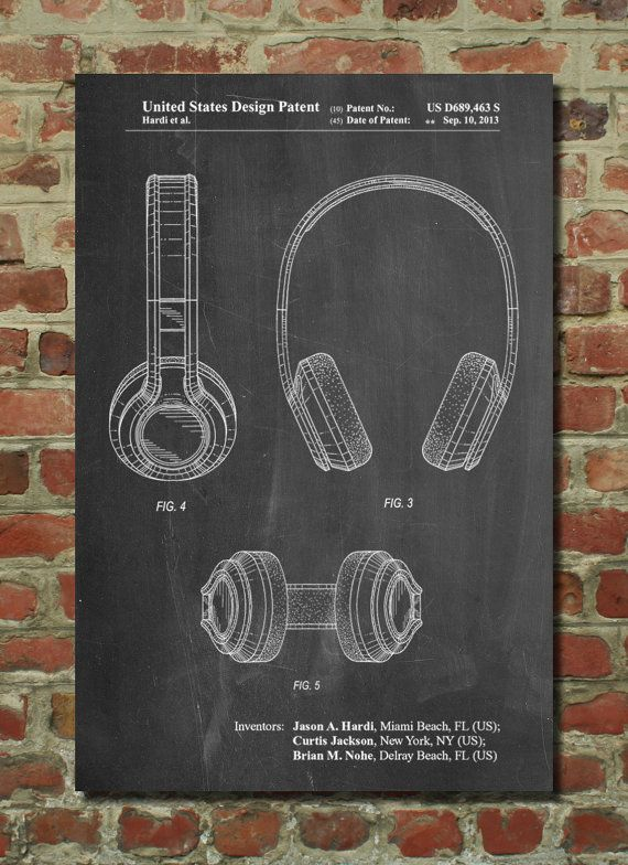 Bluetooth Headphones Patent Poster, Music Lover Gift, Hip Hop Art - copy business blueprint for manufacturing