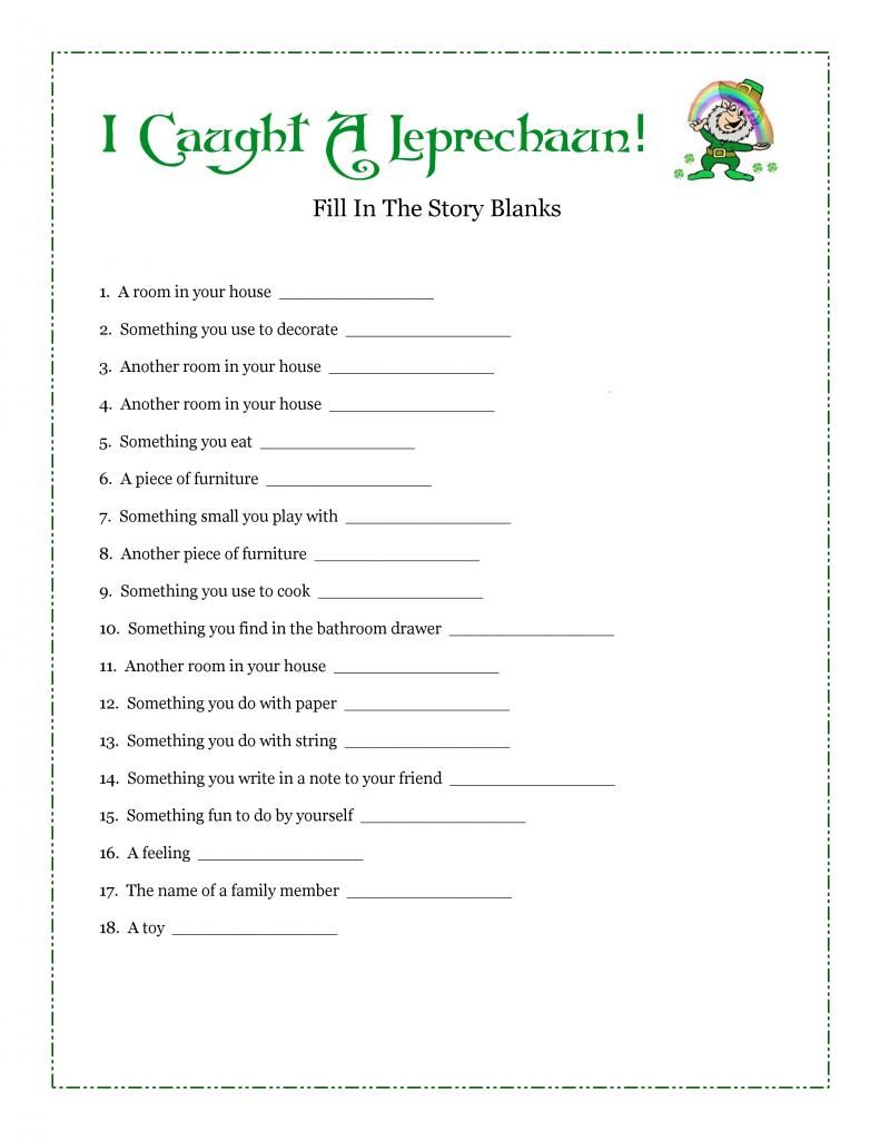 Free Fill-In-Blank Printable Story Leprechaun Story,