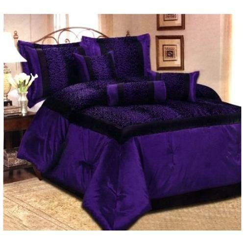 Queen Purple 7 Pcs Flocking Leopard Satin Comforter Set
