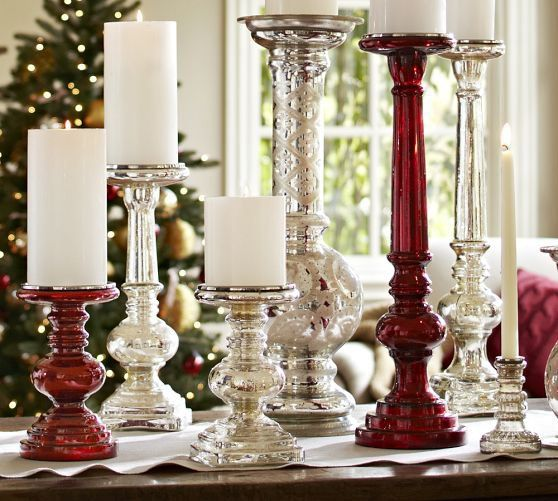 Antique Mercury Glass Pillar Holders love the collection all together