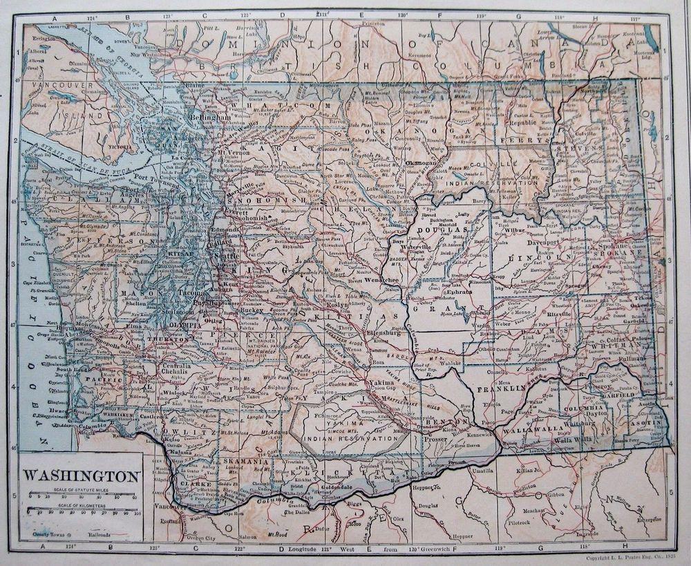 Antique WASHINGTON Map Of Washington State Map Gallery Wall - Us map washington state