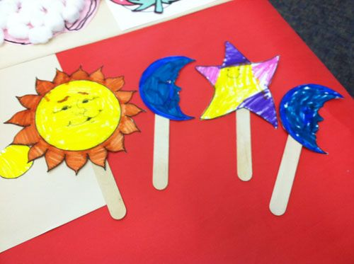 Sun moon and stars popcicle stick craft things to for Moon and stars crafts