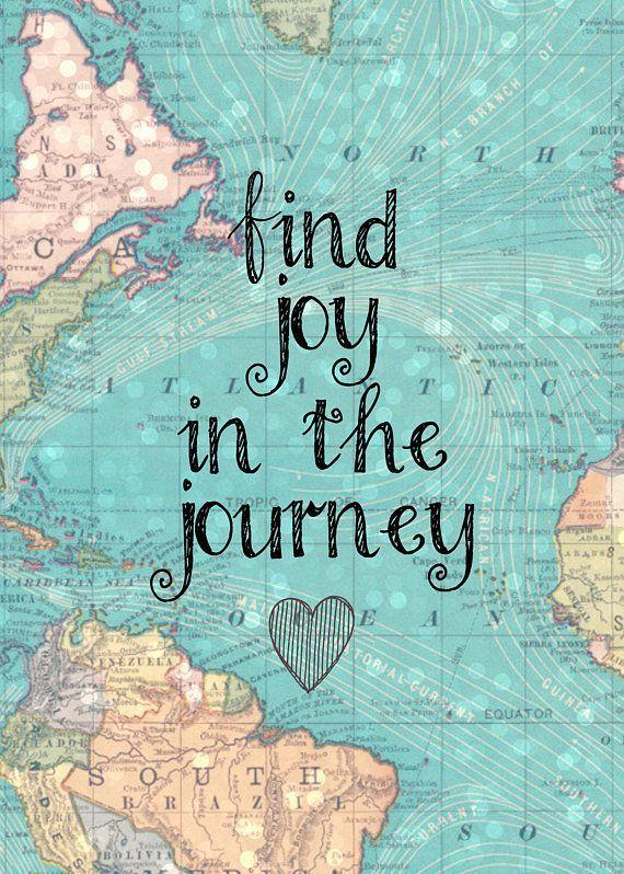 Photo of Blue Vintage Map – Find Joy in the Journey – 8×10 Digital Pr…
