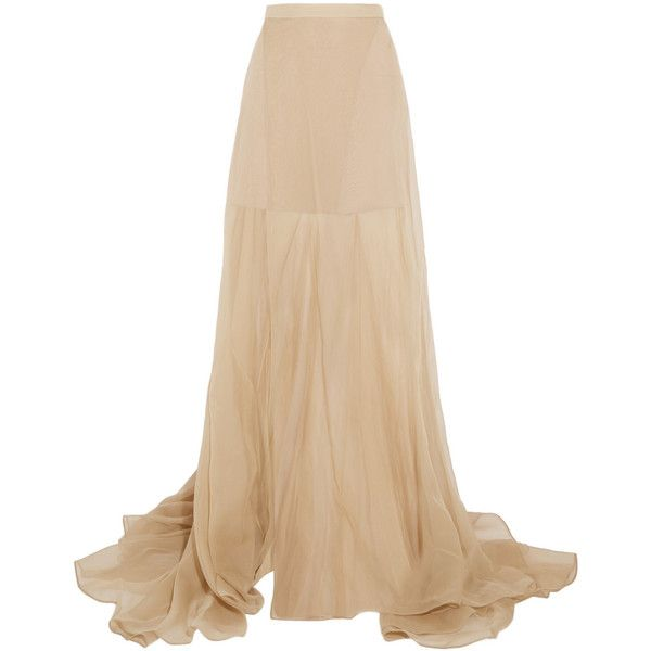 Vionnet Silk-organza maxi skirt (£1,665) ❤ liked on Polyvore featuring skirts, maxi skirts, saias, long skirts, long beige skirt, vionnet, ankle length skirt and beige skirt