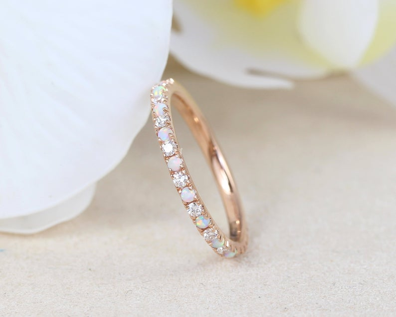 Rose Gold Opal And Diamond Eternity Band Opal Ring Eternity Etsy Opal Wedding Rings Eternity Band Diamond Opal Wedding Band