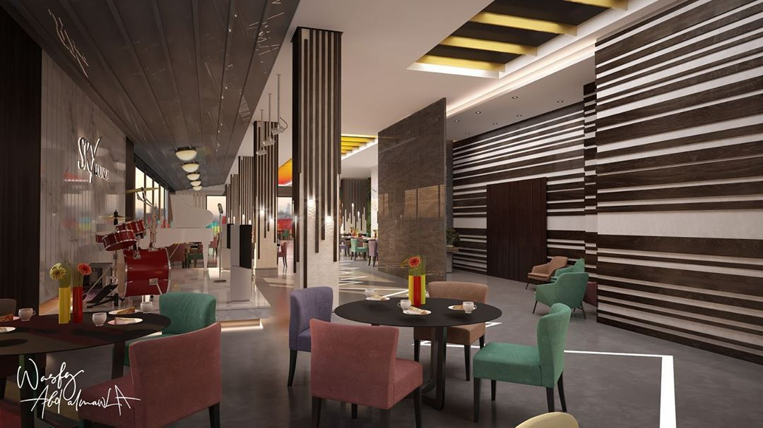 Jeddah Architectural Project On Instagram تصميم كافيه سكاي لاونج شارع الامير سلطان جدة مساحة الكافيه 580 متر Wasfy A Home Decor Interior Design Design