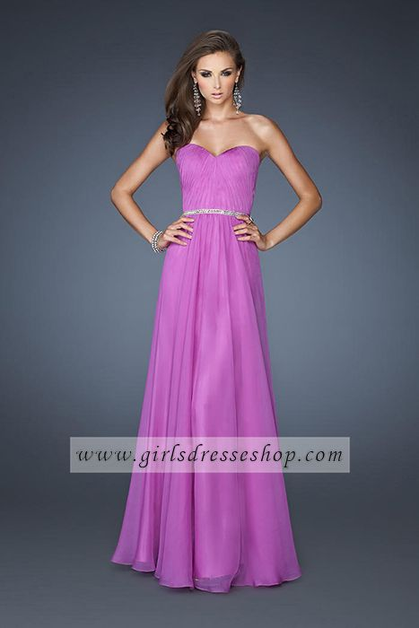 La Femme Purple Beaded Floor Length 18332 Sweetheart Neckline Prom ...