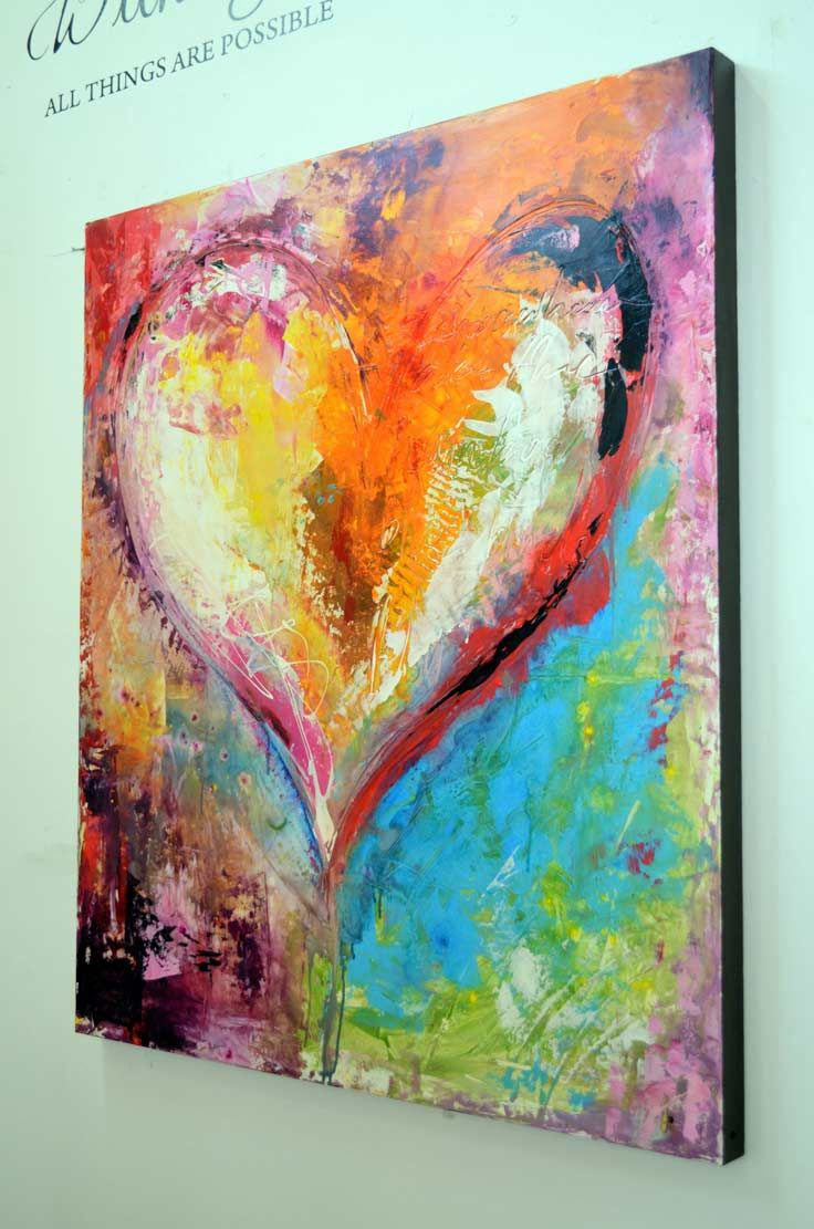 Heart Paintings And Heart Art Blue Birds Fly This Touching And Iconic Piece Not Only Boasts Stunning Colors An Abstrakte Malerier Kunst Maleri Malerier Ideer