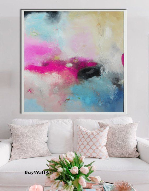 Square Pink teal art, abstract Painting, pink Gigl