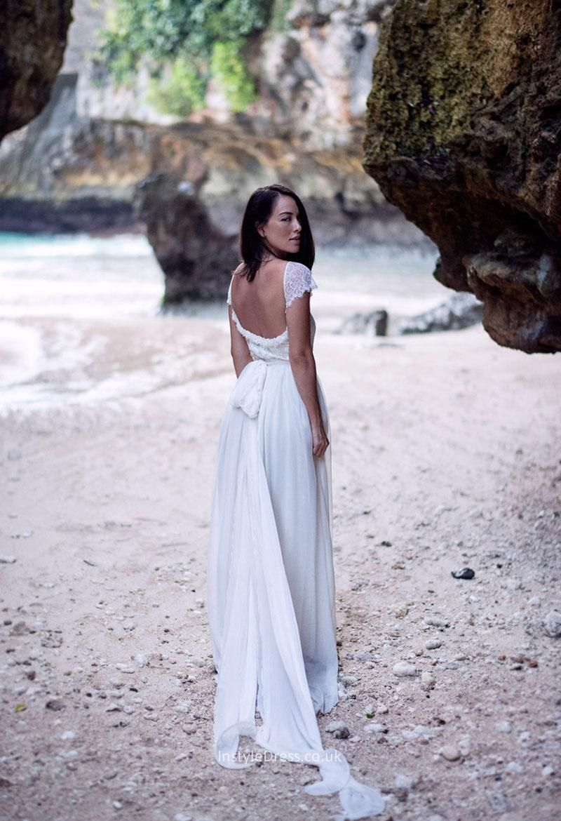 5905d372fe0 Open Back White Flutter Sleeve Lace and Chiffon A-line Beach Wedding Dress  Panel Train
