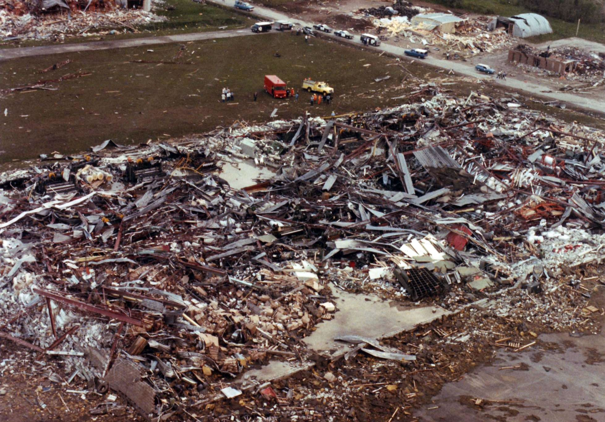 1985- a total of forty-one tornadoes had occurred in the United States and Canada. Twenty-one tornadoes tracked across Northeast Ohio and Northwest Pennsylvania during the evening of May 31st. Of these twenty-one, one was rated an F5, and six were rated F4's. Tragically, these tornadoes killed seventy-six people in Ohio and Pennsylvania.