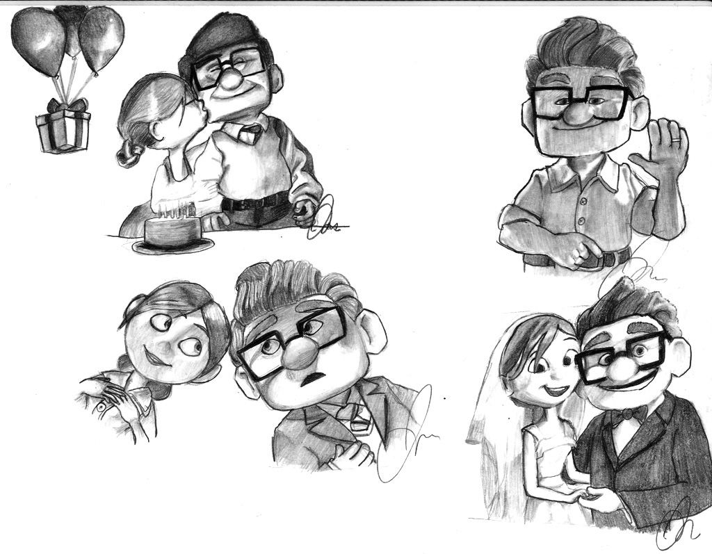 Carl and Ellie by Wolf-Shadow24 on deviantART  Cartoon sketches