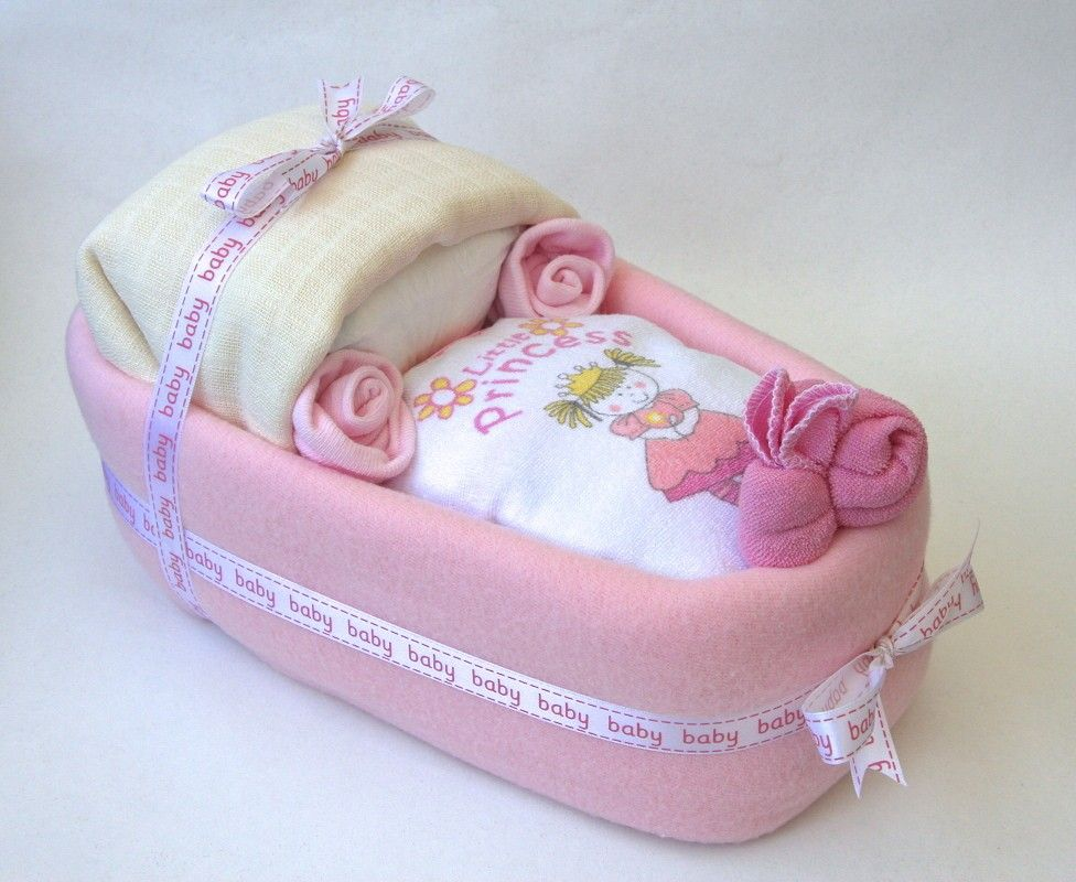 Baby Gift Cakes Uk : Gift basket for baby girl moses nappy cake