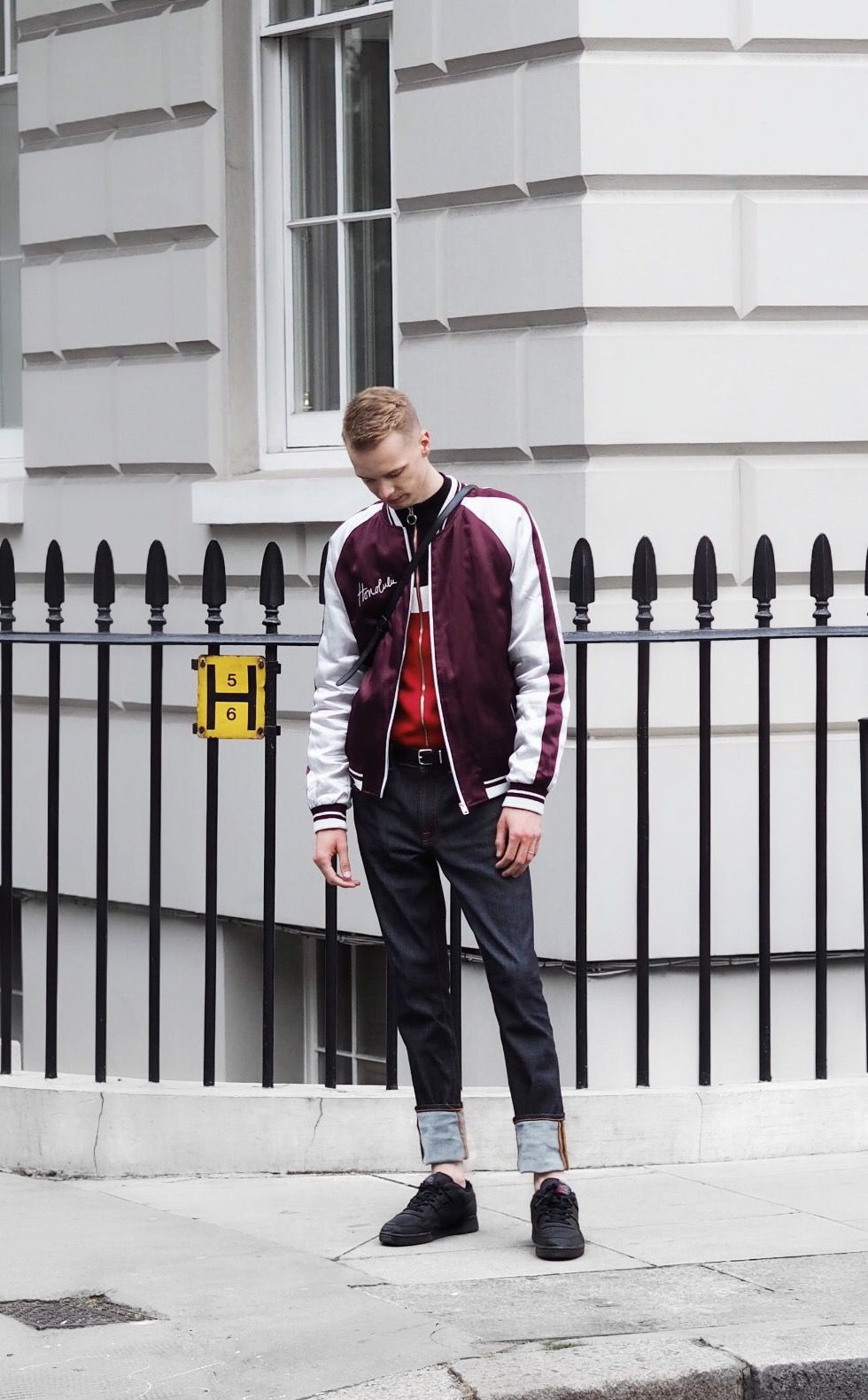 Streets of Belgravia. (London, menswear, men, style, male, fashion, red, burgundy, street, silver, white, satin, jacket, jeans, rolled up, reebok, trainers, sneakers, denim, spring, summer)