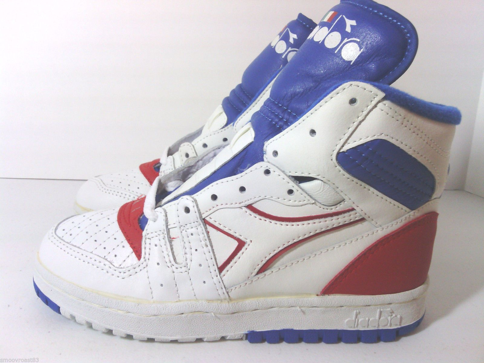 Vtg 80s Diadora Slam Jr OG Deadstock Hi Tops Basketball Shoes Adidas Pony 3  5 |