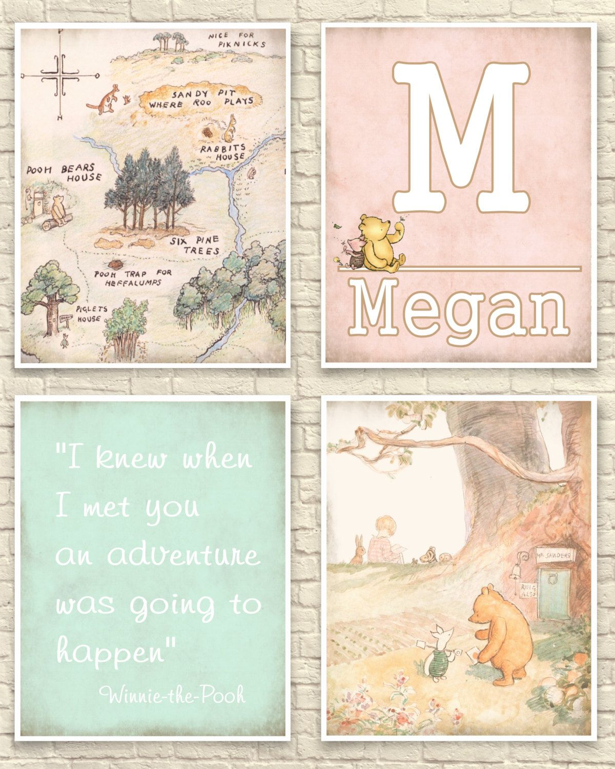 Winnie the pooh inspired poster print wall art gift merchandise nursery