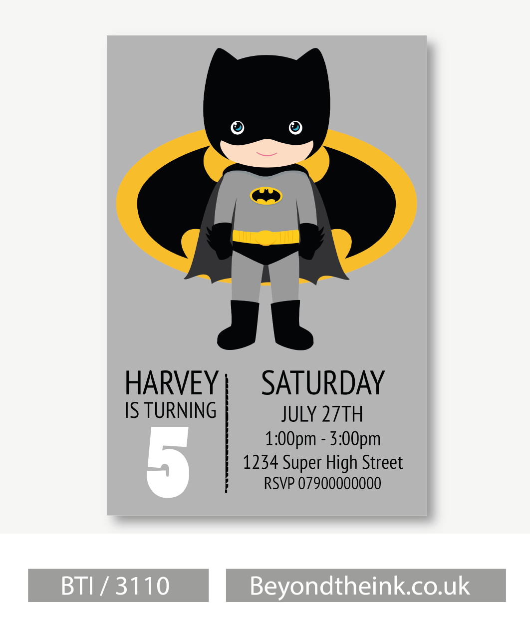Personalised Batman Invitations. Printed on Professional 300 GSM ...