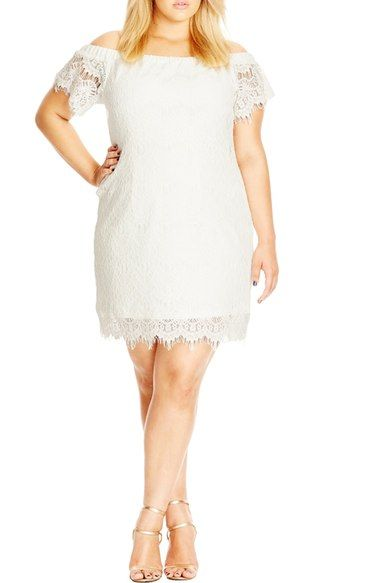 City Chic Off the Shoulder Lace Dress (Plus Size) available at #Nordstrom