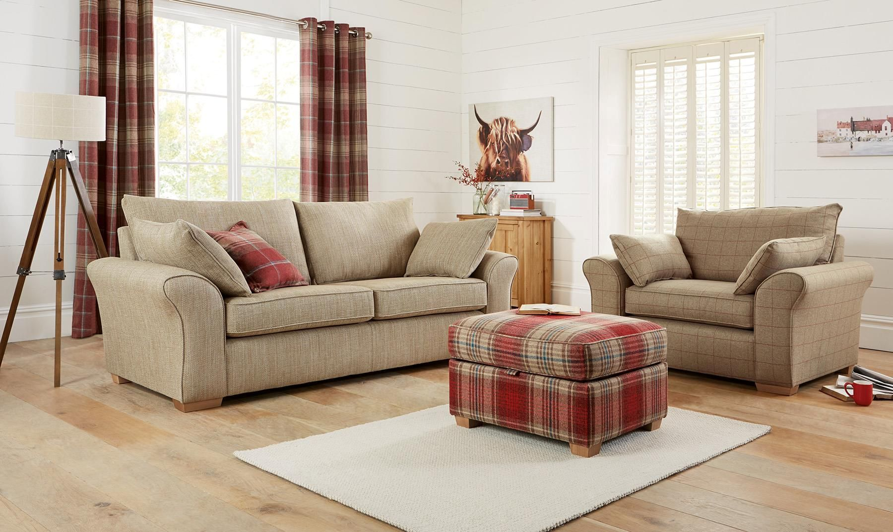 Loving The Tartan Footstool With An Armchair Next Tartan Living Room Next Living Room Living Room Red Rustic Living Room