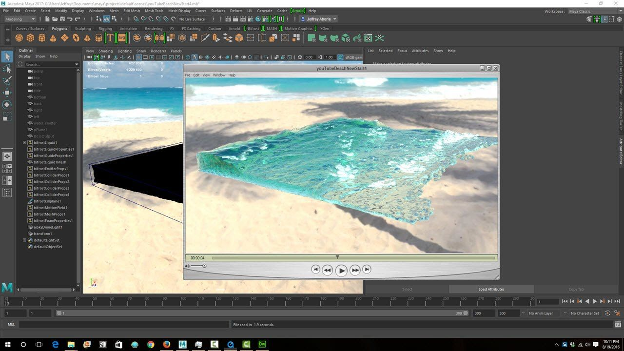 Maya 2017 Bifrost Rendering Water and Foam Tutorial | maya