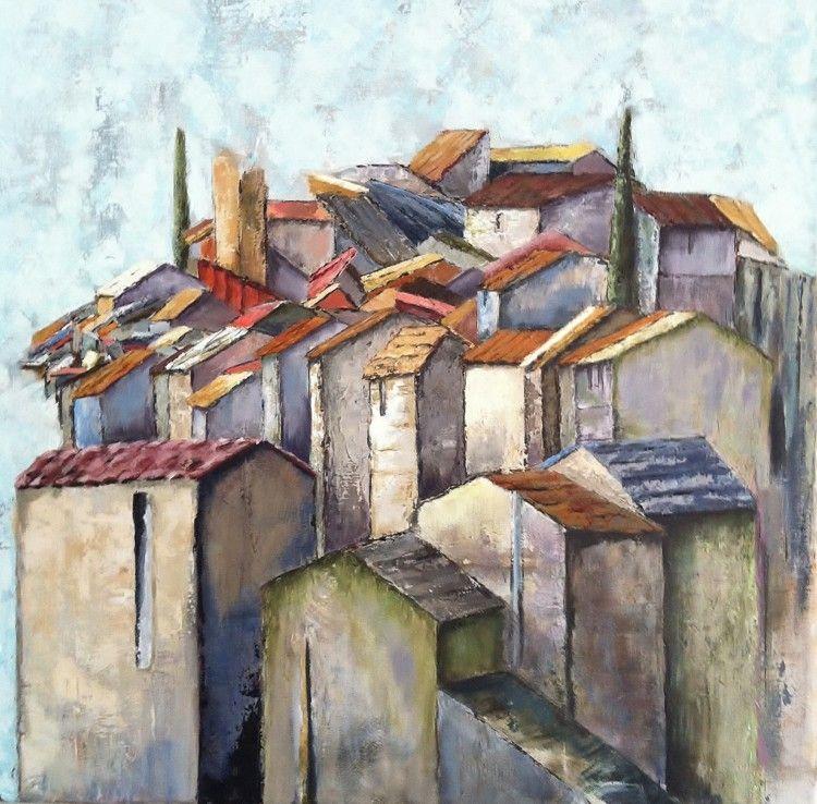pierres provencales peinture 50x50 cm par patricia lejeune village perch stylis de provence. Black Bedroom Furniture Sets. Home Design Ideas