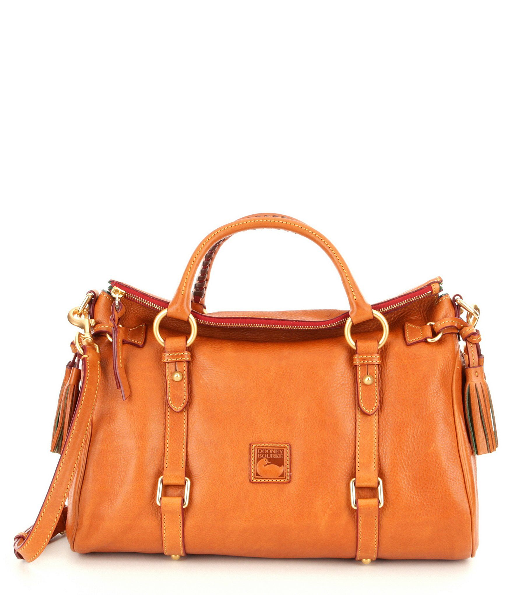 Dooney & Bourke Florentine Leather Tasseled Satchel Bag