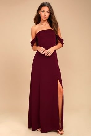 df3ceac00b5 J.O.A. Veronique Burgundy Off-the-Shoulder Maxi Dress 1