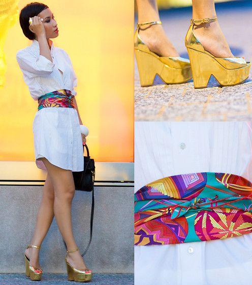 Shirt Dress With Hermes Belt As Scarf By Nini Nguyen Lookbook Nu