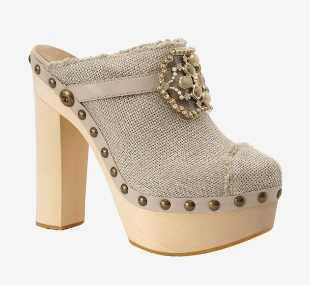 Chanel Chanel Shoe Platform Clog Linen Jewel Limited Edition Mule