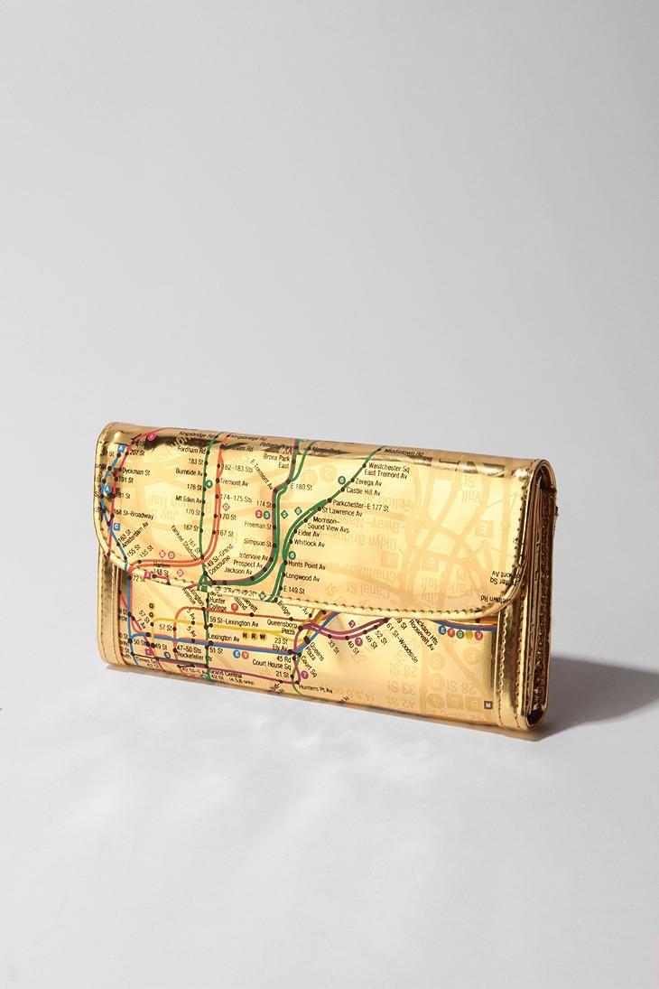 Nyc Subway Map Zippered Wallet.Nyc Metro Checkbook Wallet Pretty Things Wallet Nyc Subway Map
