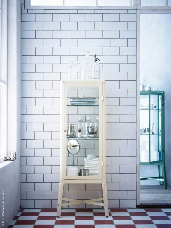 Ikea Medical Cabinet For The Master Bath. Love It With The White Subway  Tiles!