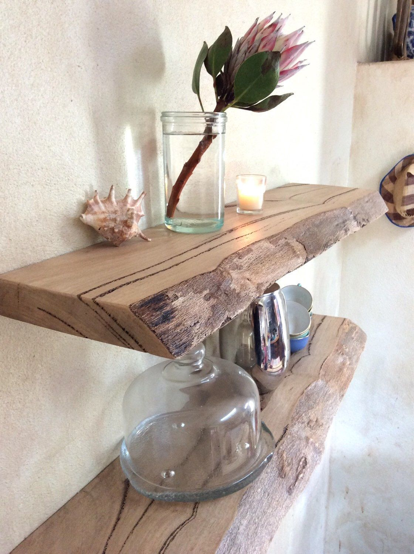 Floating timber Shelf Storage live Edge Marri Custom