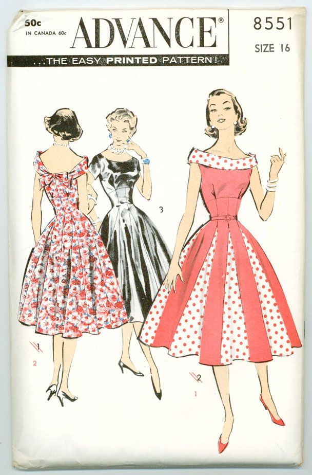A Classic Fit And Flare Style Domestic Sewing Pattern Vintage