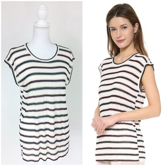 """MARC BY MARC JACOBS Top Medium Authentic Marc by Marc Jacobs top that is so soft. Creamy off white with a delicate pink and mocha stripe set off with black mesh stripes. Oversized fit. Flattering shape. Laying flat the bust measures 20"""" across and 26"""" in length. Bundle 2 or more items and save 30%! Marc by Marc Jacobs Tops"""