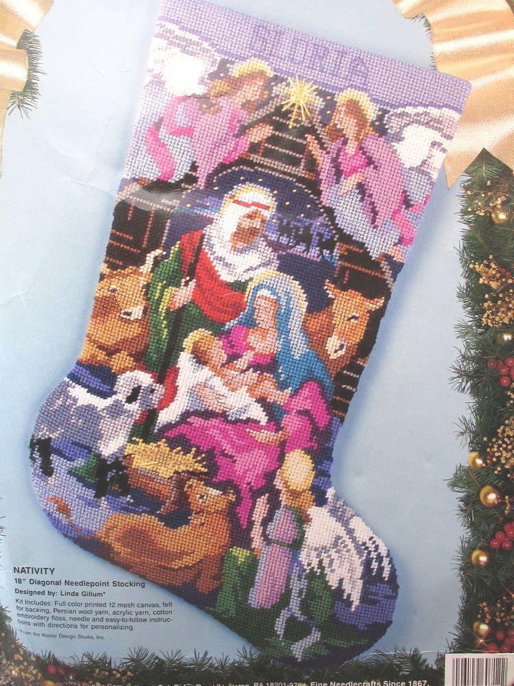 VTG NEEDLEPOINT CHRISTMAS STOCKING KIT Bucilla Nativity