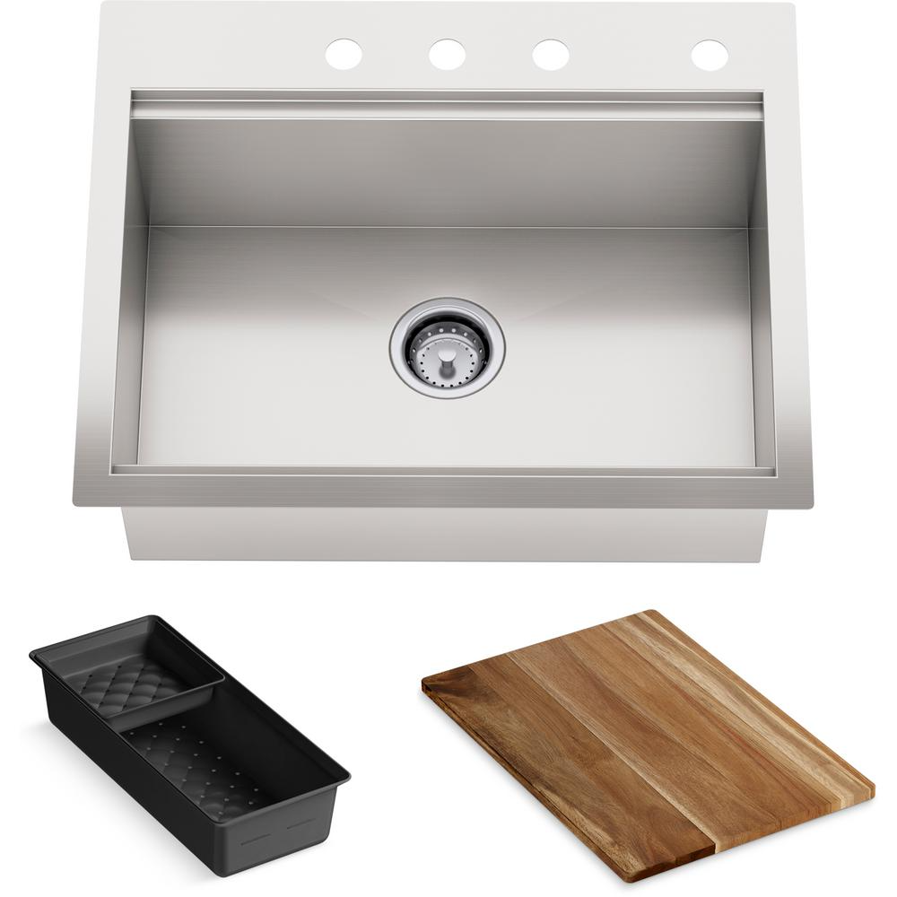 Kohler Lyric Dual Mount Workstation Stainless Steel 27 In 4 Hole Single Bowl Kitchen Sink With Integrated Ledge And Accessories K Rh23375 4pc Na The Home Depo Single Bowl Kitchen Sink Sink Kitchen Sink