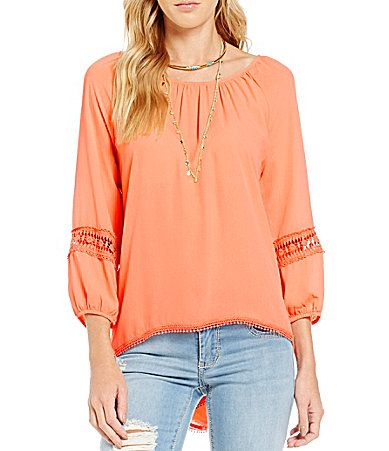 Copper Key Solid Crochet Peasant Blouse #Dillards