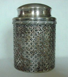 Vintage Glass Jar Container Lidded & Decorated Silver Encased Watrous MFG Co