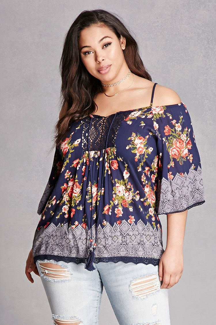 786091d6daa Forever 21+ - A crinkled woven top by Angie™ featuring an allover floral  print
